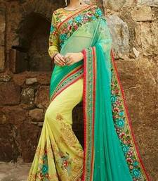 Buy Green embroidered faux georgette saree with blouse karwa-chauth-saree online