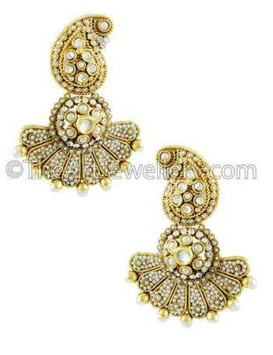 Pearl White Traditional Rajwadi Jhumki Earrings Jewellery for Women - Orniza