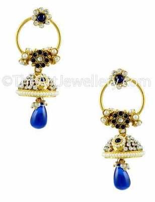 Royal Blue Traditional Rajwadi Jhumki Earrings Jewellery for Women - Orniza