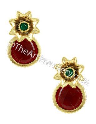 Red Green Traditional Rajwadi Drop Earrings Jewellery for Women - Orniza
