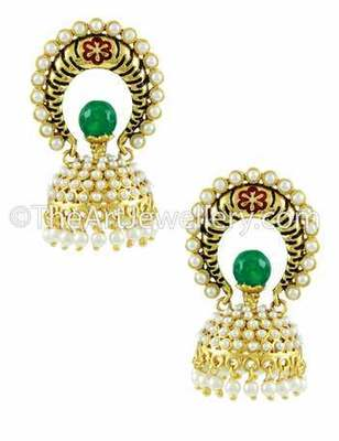 Red Green Traditional Rajwadi Jhumki Earrings Jewellery for Women - Orniza