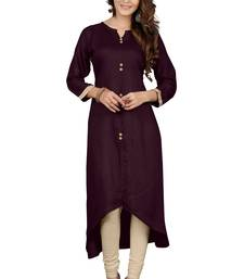 Buy Brown plain rayon stitched long kurtis long-kurti online