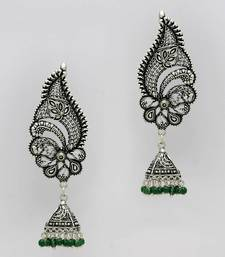 Buy Oxidised Silver Plated Green Color Festive Collection Ear Cuff Jhumka Earrings ear-cuff online