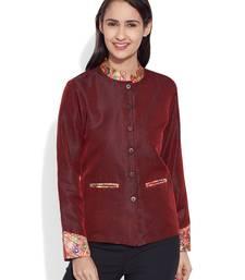 Buy Maroon dupion silk plain ethnic jackets ethnic-jacket online
