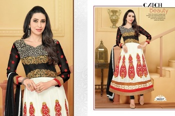 White ColourEmbroidered Georgette  Semi Stitched Anarkali