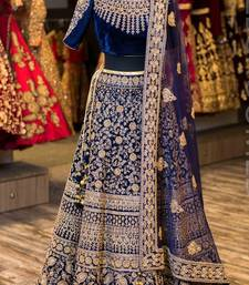 Buy Navy blue embroidered satin unstitched lehenga with dupatta lehenga online