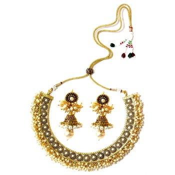 Basra Pearl Choker Necklace & Jumka