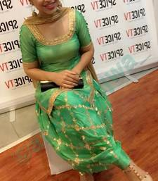 Buy Light green embroidered banarasi salwar with dupatta punjabi-suit online