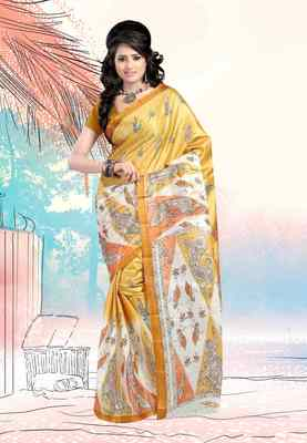 Petra Fab Dark Yellow &White Colored Art Silk Printed Saree