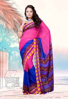 Petra Fab Pink Colored Dani Georgette Printed Saree