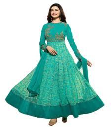 Buy aqua_blue beige embroidered semi stitched salwar with dupatta semi-stitched-salwar-suit online