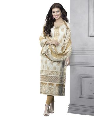 White & Beige Cotton unstitched churidar kameez with dupatta