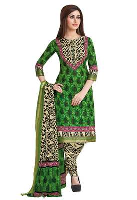 Fawn & Green Cotton unstitched churidar kameez with dupatta