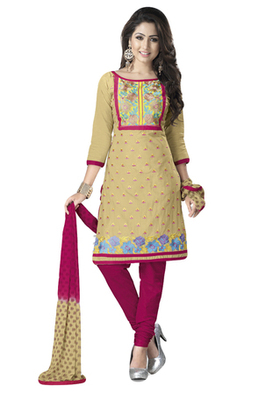 Fawn & Pink Cotton unstitched churidar kameez with dupatta