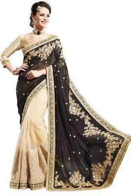 Beige Georgette & Net combo zari worked saree in black pallu-SR6076