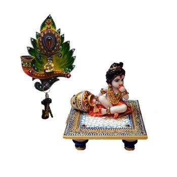 Combo of Laddu Gopal chowki and Laddu Gopal Key Holder