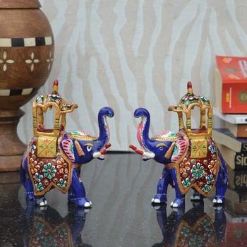 Combo of Meenakari Colorful Ambabari Elephant Statue