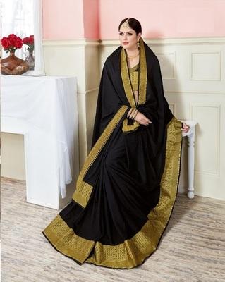 Black woven art_silk_sarees saree with blouse