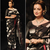 Black printed faux tussar silk saree with blouse