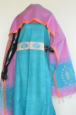 Blue colour, Patch_work, Tussar silk, Churidar, party-wear-salwar-kameez