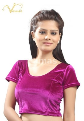 Dark Pink Velvet Stretchable Blouse. Size L.