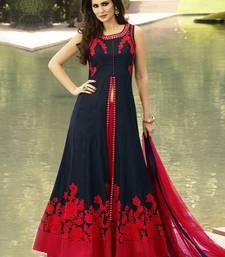 Buy Dark navy blue embroidered dupion silk salwar with dupatta salwar-kameez online