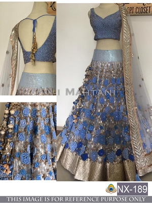 Sky blue embroidered silk unstitched lehenga with dupatta