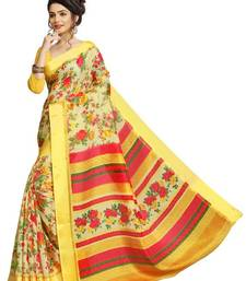 Buy Yellow printed linen saree with blouse linen-saree online