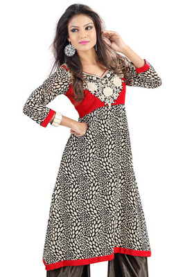 Black and Maroon Georgette Velvet Kurti showing Polka Print