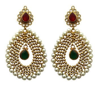 red, green and white pearl polki earring