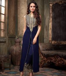 Buy Blue embroidered georgette salwar with dupatta semi-stitched-salwar-suit online