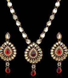 Buy Ethnic Indian Jewelry Maroon White Kundan Like Work Necklace Set b160m necklace-set online
