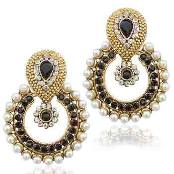 Pearl with black stone traditional ethnic Indian best seller earring b332k