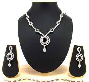 sapphire blue american diamond floral desgin necklace set