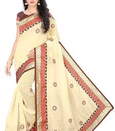 Buy Beige embroidered cotton saree with blouse designer-embroidered-saree online