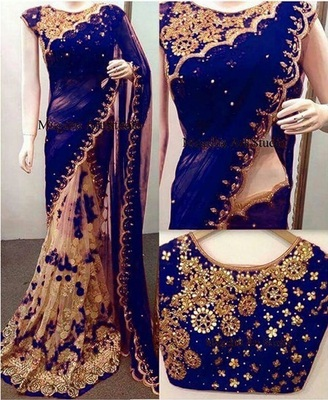 Dark blue embroidered net saree with blouse