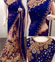 Buy Dark blue embroidered net saree with blouse net-saree online
