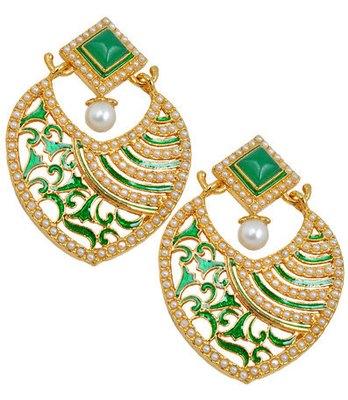 Appealing Green Meenakari Push-Back Drop Earrings