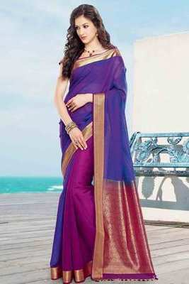 Pinkish Purple & Pink cot silk weaved saree in pink & gold weaved pallu
