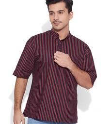 Buy black cotton printed stitched kurta men-festive-wear online