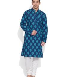Buy blue cotton printed stitched kurta kurta-pajama online