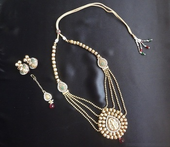 Long Designer Temple Necklace set