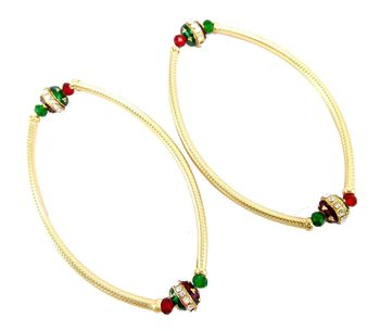 pipe style meenakari cz stretchable anklet