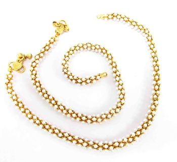 bridal gold plated faux pearl rope anklet