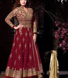 Buy Red embroidered net salwar ethnic-suit online