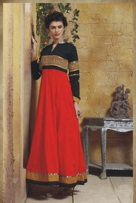 Red with Black Pure Trendy Anarkali Salwar Kameez red
