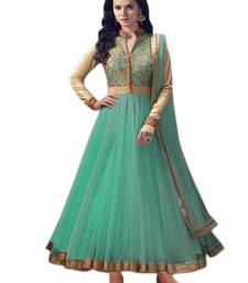 Buy Light green embroidered super net salwar Suit With Dupatta anarkali-salwar-kameez online
