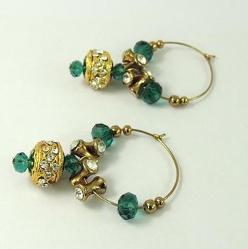 Golden Ball Drop C Green Crystal Bali Earring