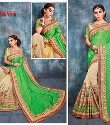Buy Green embroidered silk saree with blouse designer-embroidered-saree online