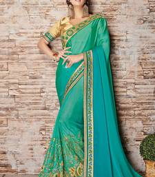 Buy Sea green embroidered silk saree with blouse diwali-sarees-collection online